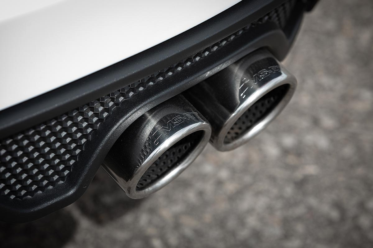 A quad stainless steel sports exhaust system